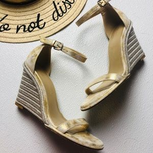 Stuart Weitzman wedge gold metallic espadrille 7.5